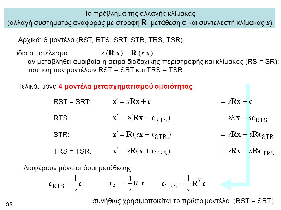 35 Αρχικά: 6 μοντέλα (RST, RTS, SRT, STR, TRS, TSR). ίδιο αποτέλεσμα s (R x) = R (s x) αν μεταβληθεί αμοιβαία η σειρά διαδοχικής περιστροφής και κλίμα