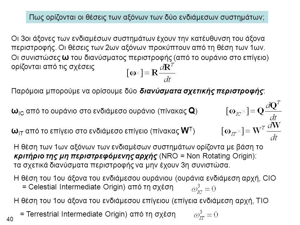 40 Πως ορίζονται οι θέσεις των αξόνων των δύο ενδιάμεσων συστημάτων; Οι 3οι άξονες των ενδιαμέσων συστημάτων έχουν την κατέυθυνση του άξονα περιστροφή