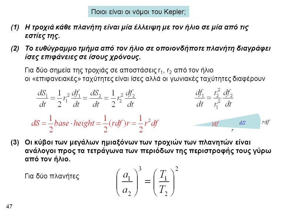47 Ποιοι είναι οι νόμοι του Kepler; (1)H τροχιά κάθε πλανήτη είναι μία έλλειψη με τον ήλιο σε μία από τις εστίες της. (2)Το ευθύγραμμο τμήμα από τον ή