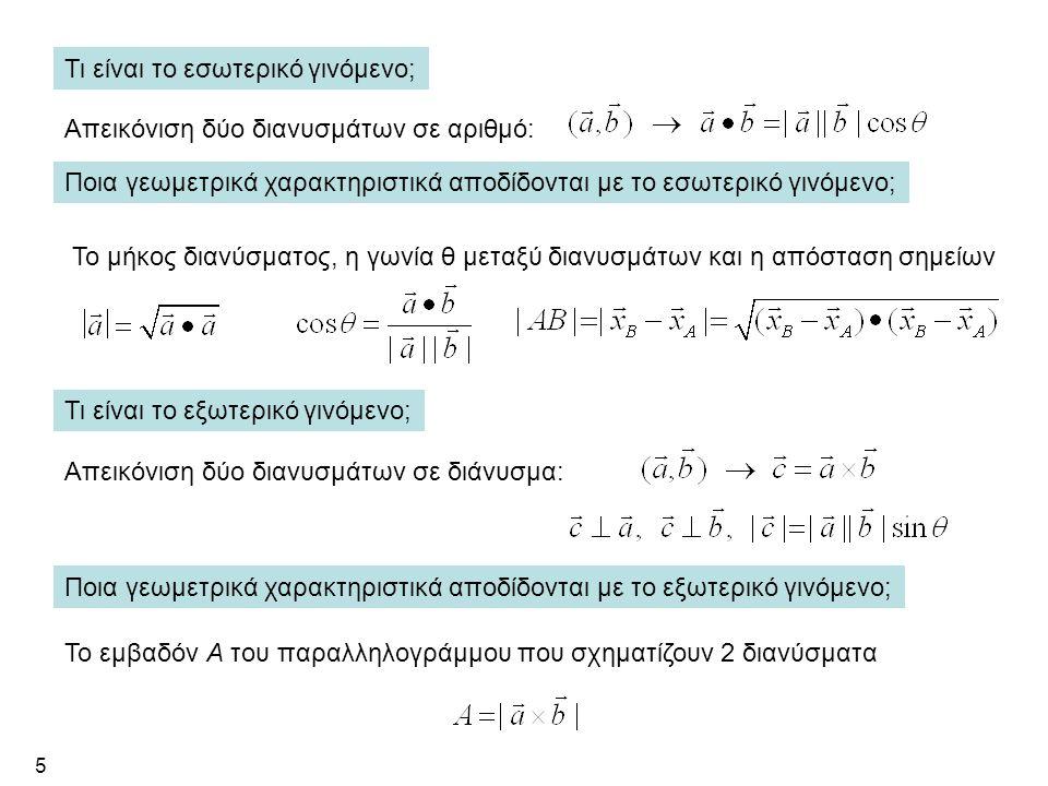 5 Τι είναι το εσωτερικό γινόμενο; Απεικόνιση δύο διανυσμάτων σε αριθμό: Ποια γεωμετρικά χαρακτηριστικά αποδίδονται με το εσωτερικό γινόμενο; Το μήκος διανύσματος, η γωνία θ μεταξύ διανυσμάτων και η απόσταση σημείων Τι είναι το εξωτερικό γινόμενο; Απεικόνιση δύο διανυσμάτων σε διάνυσμα: Ποια γεωμετρικά χαρακτηριστικά αποδίδονται με το εξωτερικό γινόμενο; Το εμβαδόν Α του παραλληλογράμμου που σχηματίζουν 2 διανύσματα
