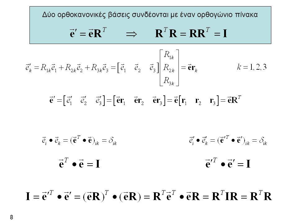 8 Δύο ορθοκανονικές βάσεις συνδέονται με έναν ορθογώνιο πίνακα