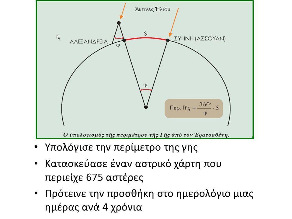 Υπολόγισε την περίμετρο της γης Κατασκεύασε έναν αστρικό χάρτη που περιείχε 675 αστέρες Πρότεινε την προσθήκη στο ημερολόγιο μιας ημέρας ανά 4 χρόνια