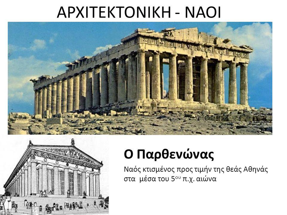 ΑΡΧΙΤΕΚΤΟΝΙΚΗ - ΝΑΟΙ Ο Παρθενώνας Ναός κτισμένος προς τιμήν της θεάς Αθηνάς στα μέσα του 5 ου π.χ. αιώνα