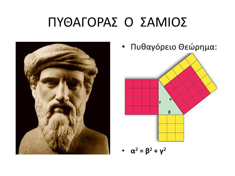 ΠΥΘΑΓΟΡΑΣ Ο ΣΑΜΙΟΣ Πυθαγόρειο Θεώρημα: α 2 = β 2 + γ 2