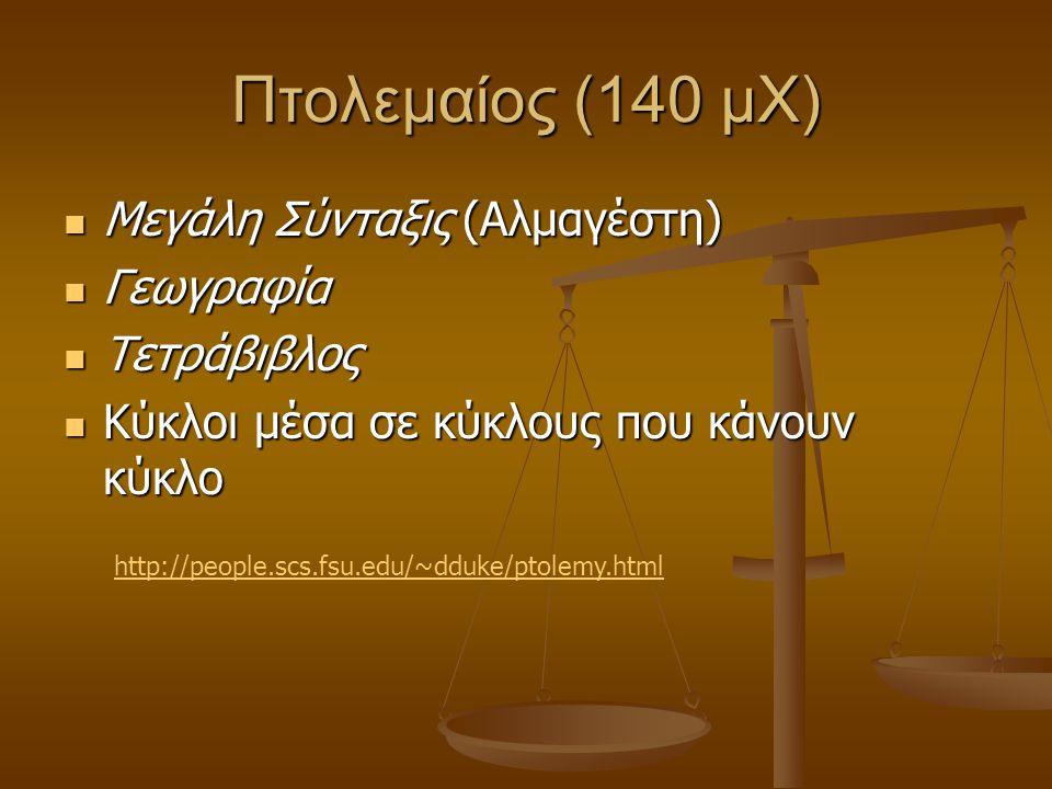 Πτολεμαίος (140 μΧ) Μεγάλη Σύνταξις (Αλμαγέστη) Μεγάλη Σύνταξις (Αλμαγέστη) Γεωγραφία Γεωγραφία Τετράβιβλος Τετράβιβλος Κύκλοι μέσα σε κύκλους που κάν