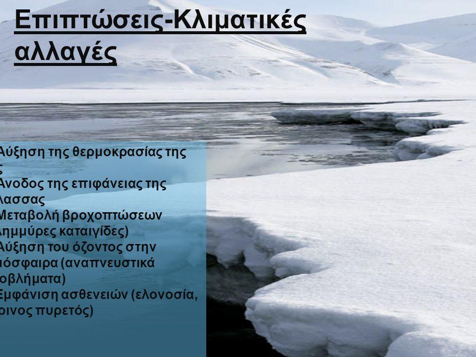 α) Αύξηση της θερμοκρασίας της γης β) Άνοδος της επιφάνειας της θάλασσας γ) Μεταβολή βροχοπτώσεων (πλημμύρες καταιγίδες) δ) Αύξηση του όζοντος στην ατ