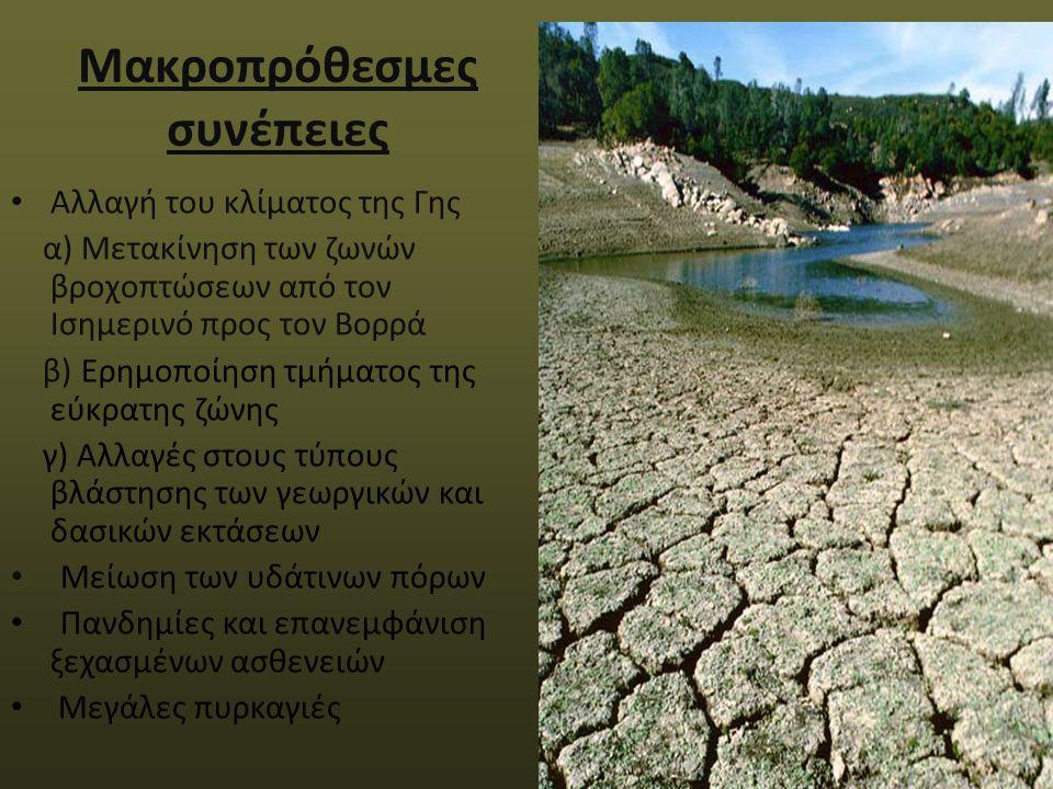 Μακροπρόθεσμες συνέπειες Αλλαγή του κλίματος της Γης α) Μετακίνηση των ζωνών βροχοπτώσεων από τον Ισημερινό προς τον Βορρά β) Ερημοποίηση τμήματος της