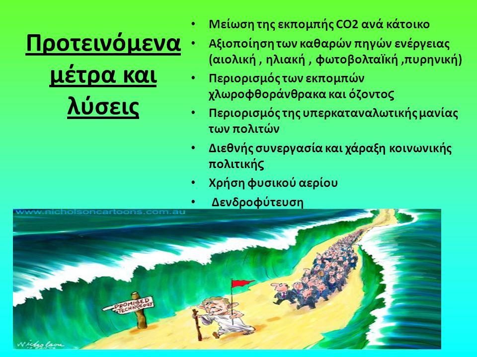 Προτεινόμενα μέτρα και λύσεις Μείωση της εκπομπής CO2 ανά κάτοικο Αξιοποίηση των καθαρών πηγών ενέργειας (αιολική, ηλιακή, φωτοβολτα ϊ κή,πυρηνική) Πε
