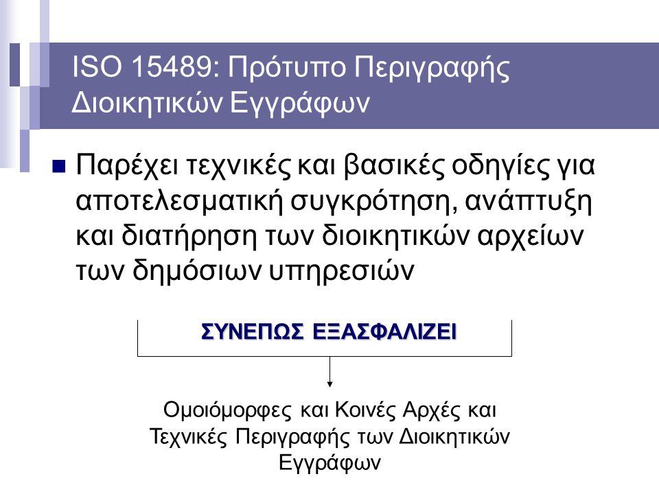 ISO 15489: Πρότυπο Περιγραφής Διοικητικών Εγγράφων Παρέχει τεχνικές και βασικές οδηγίες για αποτελεσματική συγκρότηση, ανάπτυξη και διατήρηση των διοι