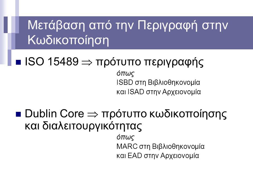 Μετάβαση από την Περιγραφή στην Κωδικοποίηση ISO 15489  πρότυπο περιγραφήςόπως ISBD στη Βιβλιοθηκονομία και ISAD στην Αρχειονομία Dublin Core  πρότυ