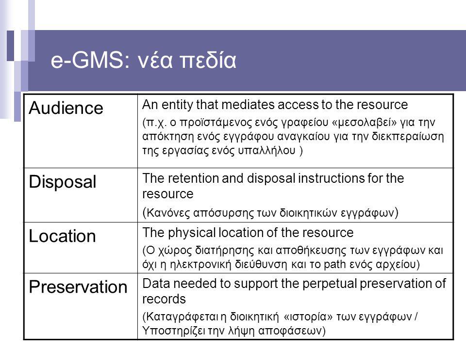 e-GMS: νέα πεδία Audience An entity that mediates access to the resource (π.χ. ο προϊστάμενος ενός γραφείου «μεσολαβεί» για την απόκτηση ενός εγγράφου