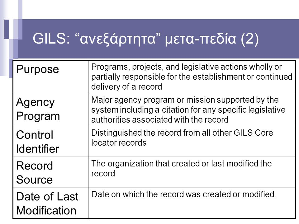 "GILS: ""ανεξάρτητα"" μετα-πεδία (2) Purpose Programs, projects, and legislative actions wholly or partially responsible for the establishment or continu"