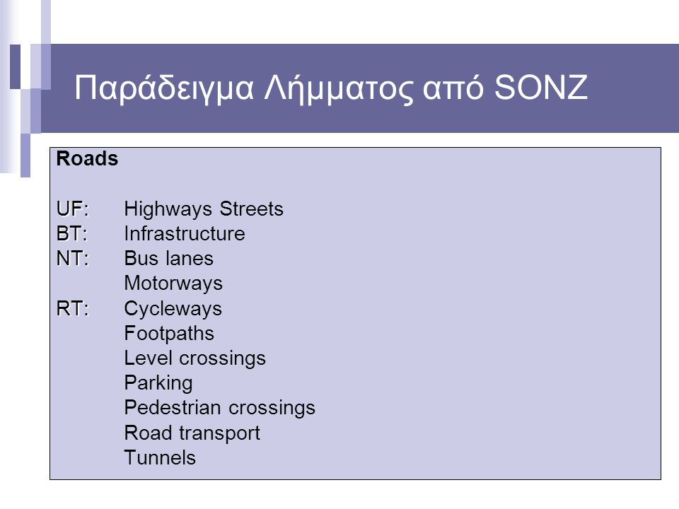 Παράδειγμα Λήμματος από SONZ Roads UF: UF: Highways Streets BT: BT: Infrastructure NT: NT: Bus lanes Motorways RT: RT: Cycleways Footpaths Level cross