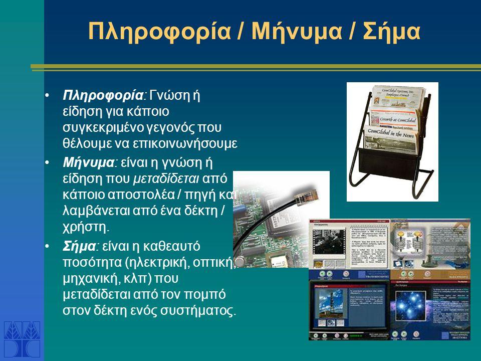 Σύστημα Τηλεφώνου Βασικά μέρη: Πομπός – μετατρέπει την φωνή σε ηλεκτρική ενέργεια και την στέλλει για μετάδοση Μέσο μετάδοσης – μεταφέρει την ηλεκτρική ενέργεια από ένα μέρος σε άλλο (π.χ.