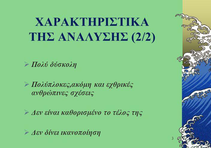 4 ΠΡΟΒΛΗΜΑΤΑ ΑΝΑΛΥΣΗΣ (1/2) Προβλήματα Επικοινωνίας λόγω:  Της φυσικής δυσκολίας περιγραφής ενός προβλήματος  Ακαταλληλότητας της μεθόδου  Έλλειψη κοινής γλώσσας  Απουσία μοντέλου του συστήματος εξ αρχής