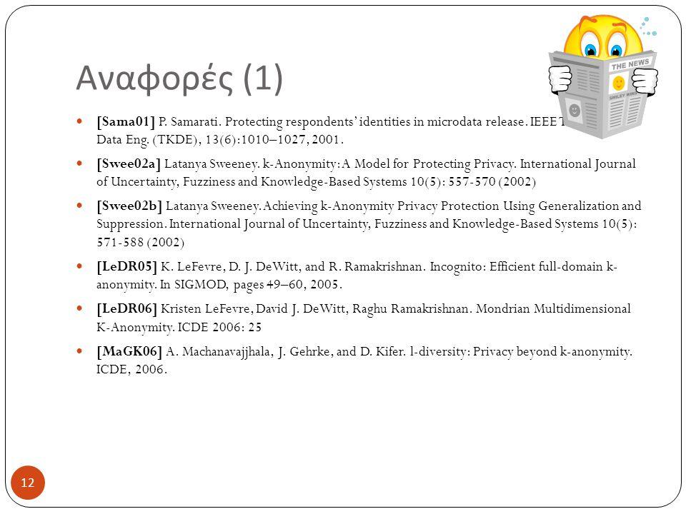 Αναφορές (1) [Sama01] P. Samarati. Protecting respondents' identities in microdata release. IEEE Trans. Knowl. Data Eng. (TKDE), 13(6):1010–1027, 2001