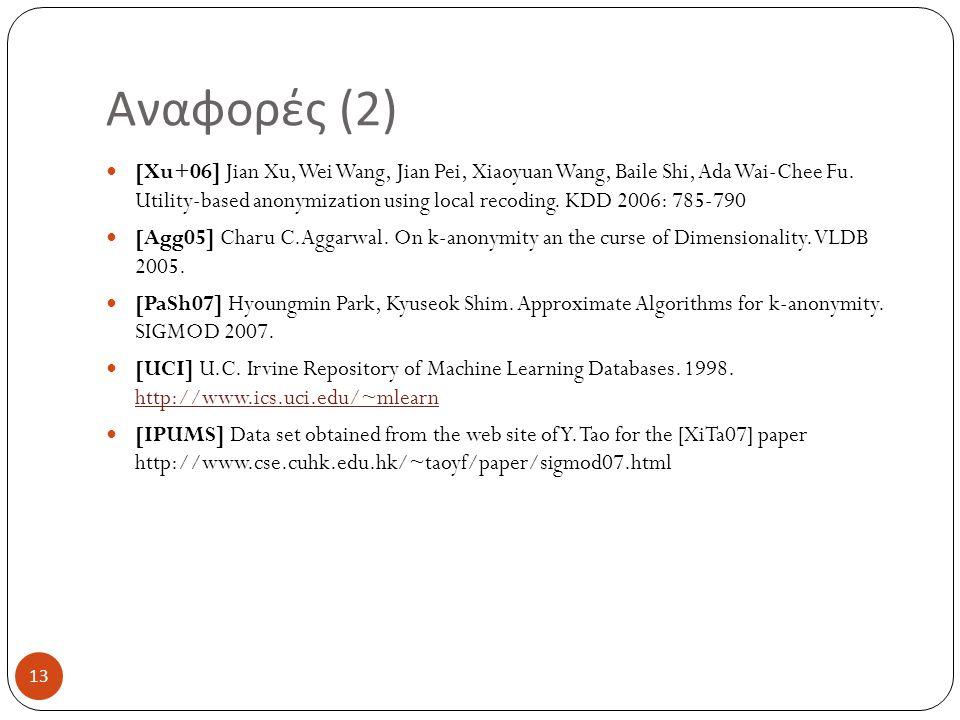 Αναφορές (2) [Xu+06] Jian Xu, Wei Wang, Jian Pei, Xiaoyuan Wang, Baile Shi, Ada Wai-Chee Fu. Utility-based anonymization using local recoding. KDD 200