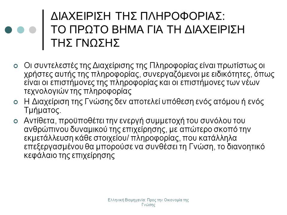 Ελληνική Βιομηχανία: Προς την Οικονομία της Γνώσης ΔΙΑΧΕΙΡΙΣΗ ΤΗΣ ΠΛΗΡΟΦΟΡΙΑΣ: ΤΟ ΠΡΩΤΟ ΒΗΜΑ ΓΙΑ ΤΗ ΔΙΑΧΕΙΡΙΣΗ ΤΗΣ ΓΝΩΣΗΣ Οι συντελεστές της Διαχείρισ