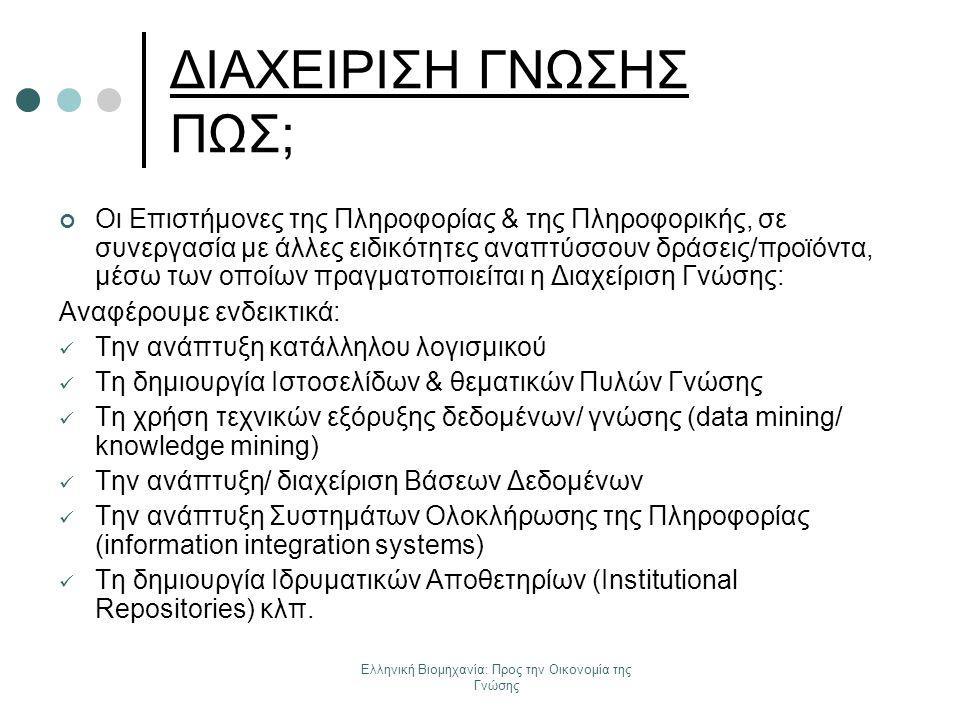 Ελληνική Βιομηχανία: Προς την Οικονομία της Γνώσης ΔΙΑΧΕΙΡΙΣΗ ΓΝΩΣΗΣ ΠΩΣ; Οι Επιστήμονες της Πληροφορίας & της Πληροφορικής, σε συνεργασία με άλλες ει