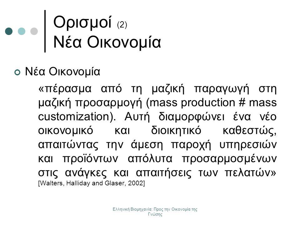 Ελληνική Βιομηχανία: Προς την Οικονομία της Γνώσης Νέα Οικονομία «πέρασμα από τη μαζική παραγωγή στη μαζική προσαρμογή (mass production # mass customi