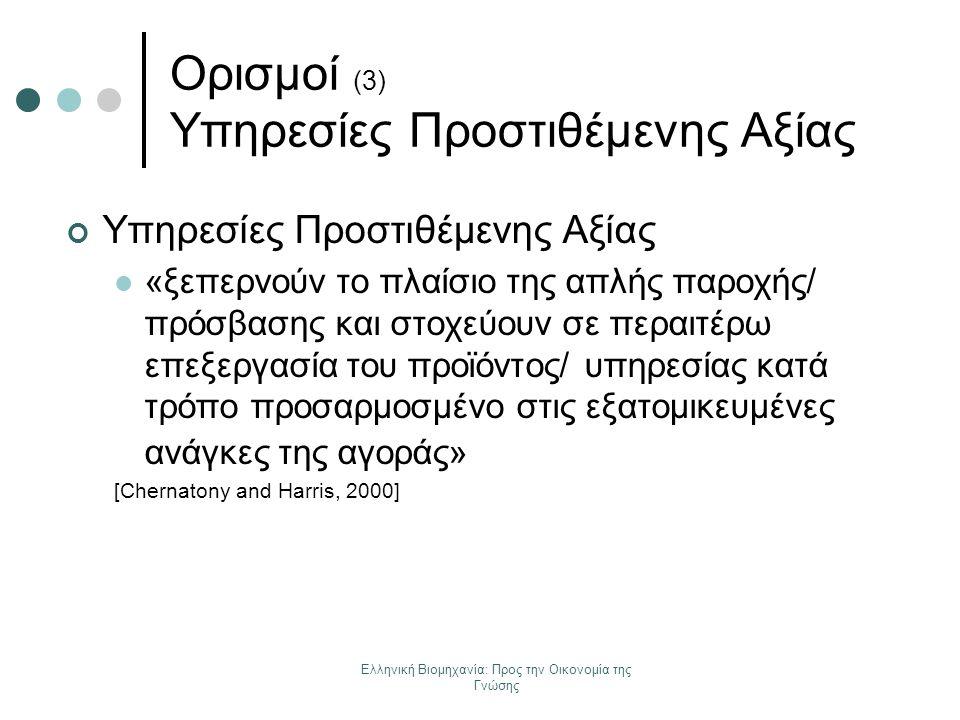 Ελληνική Βιομηχανία: Προς την Οικονομία της Γνώσης Ορισμοί (3) Υπηρεσίες Προστιθέμενης Αξίας Υπηρεσίες Προστιθέμενης Αξίας «ξεπερνούν το πλαίσιο της α