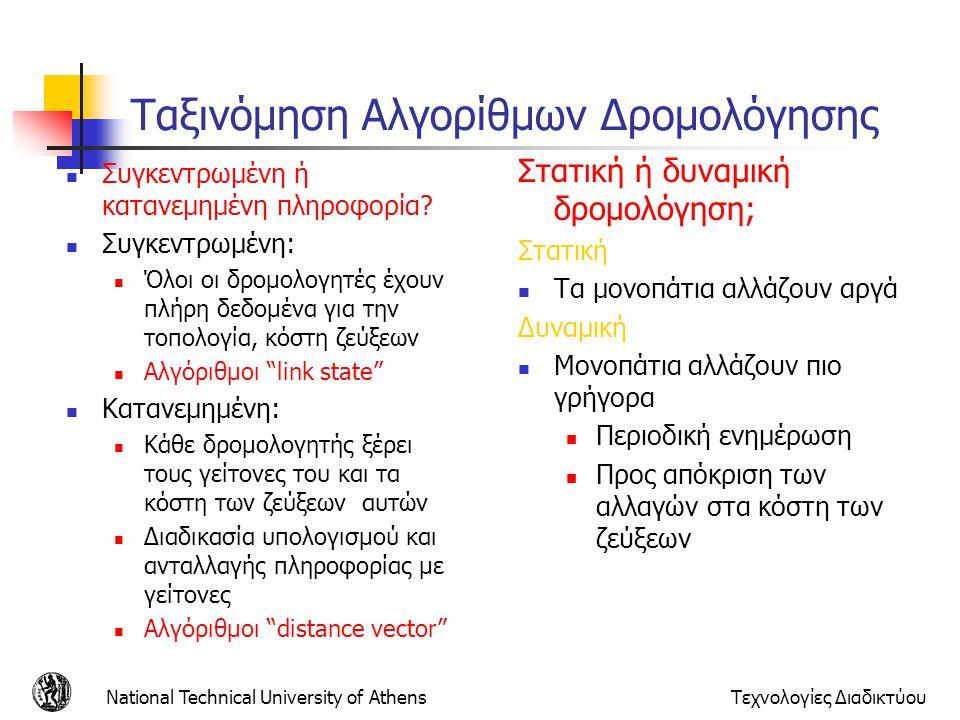 National Technical University of AthensΤεχνολογίες Διαδικτύου Ταξινόμηση Αλγορίθμων Δρομολόγησης Συγκεντρωμένη ή κατανεμημένη πληροφορία? Συγκεντρωμέν