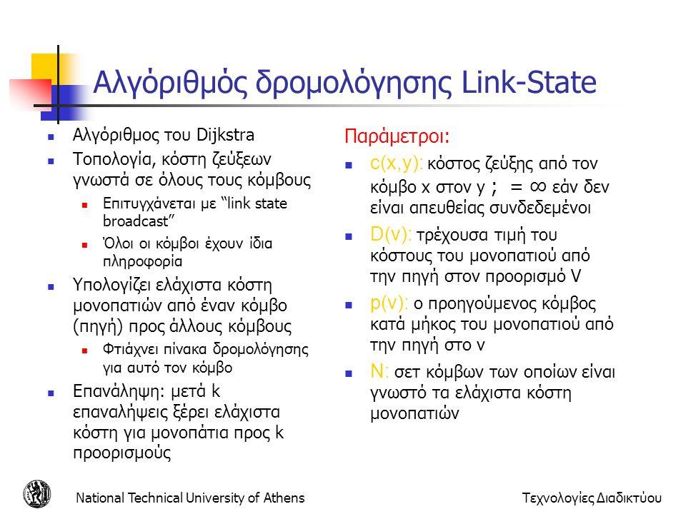 National Technical University of AthensΤεχνολογίες Διαδικτύου Αλγόριθμός δρομολόγησης Link-State Αλγόριθμος του Dijkstra Τοπολογία, κόστη ζεύξεων γνωσ