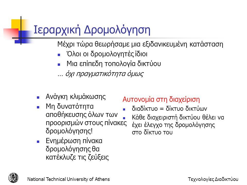 National Technical University of AthensΤεχνολογίες Διαδικτύου Ιεραρχική Δρομολόγηση Ανάγκη κλιμάκωσης Μη δυνατότητα αποθήκευσης όλων των προορισμών στ