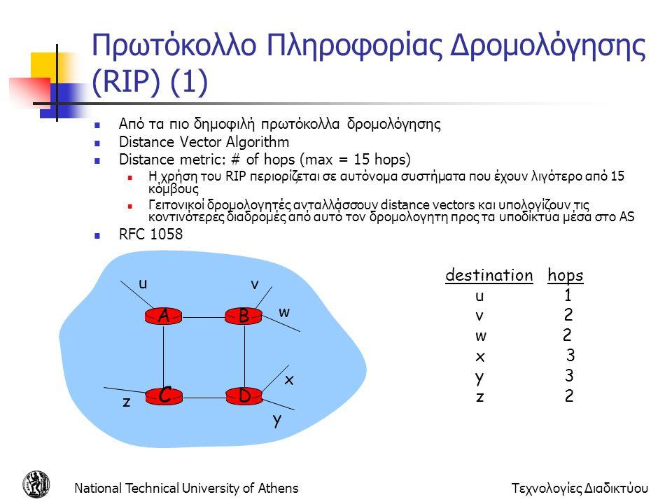 National Technical University of AthensΤεχνολογίες Διαδικτύου Πρωτόκολλο Πληροφορίας Δρομολόγησης (RIP) (1) Από τα πιο δημοφιλή πρωτόκολλα δρομολόγηση