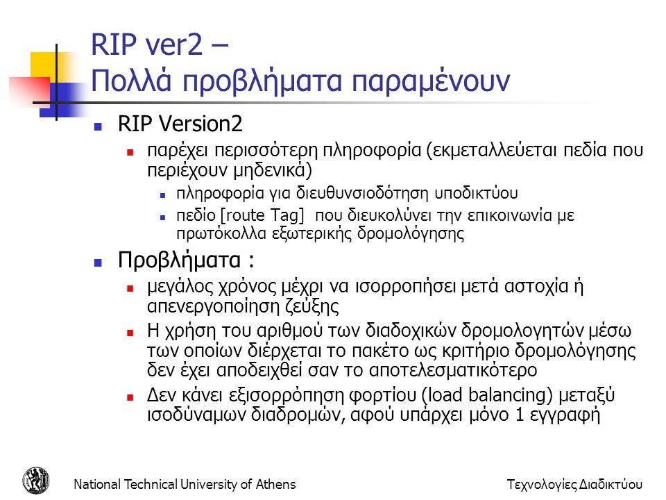 National Technical University of AthensΤεχνολογίες Διαδικτύου RIP ver2 – Πολλά προβλήματα παραμένουν RIP Version2 παρέχει περισσότερη πληροφορία (εκμε