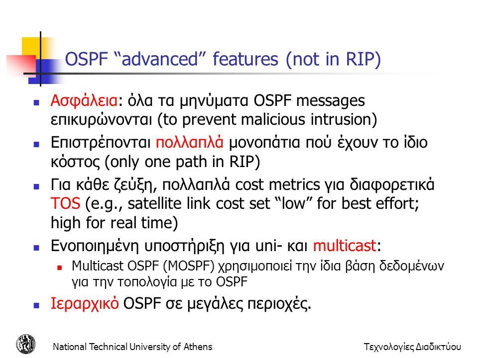 "National Technical University of AthensΤεχνολογίες Διαδικτύου OSPF ""advanced"" features (not in RIP) Ασφάλεια: όλα τα μηνύματα OSPF messages επικυρώνον"