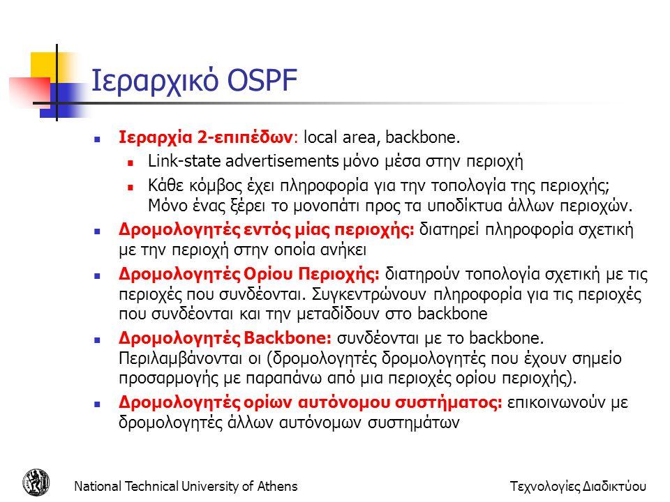 National Technical University of AthensΤεχνολογίες Διαδικτύου Ιεραρχικό OSPF Ιεραρχία 2-επιπέδων: local area, backbone. Link-state advertisements μόνο