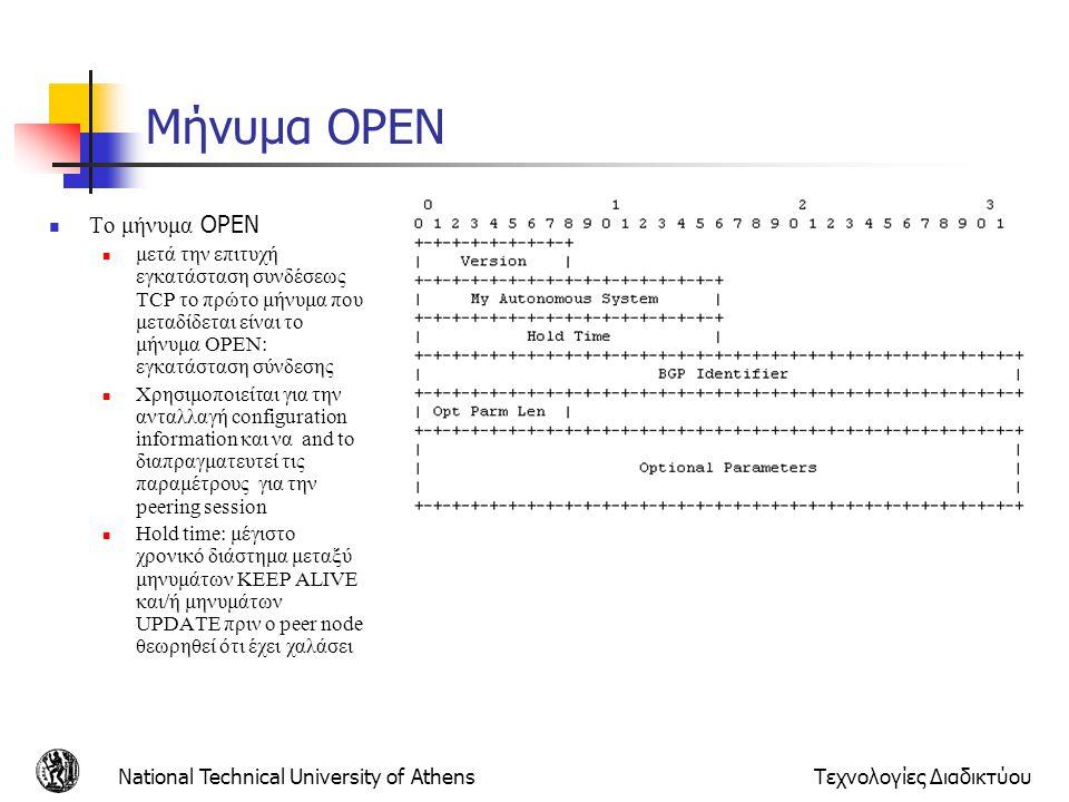 National Technical University of AthensΤεχνολογίες Διαδικτύου Μήνυμα OPEN Το μήνυμα OPEN μετά την επιτυχή εγκατάσταση συνδέσεως ΤCP το πρώτο μήνυμα πο