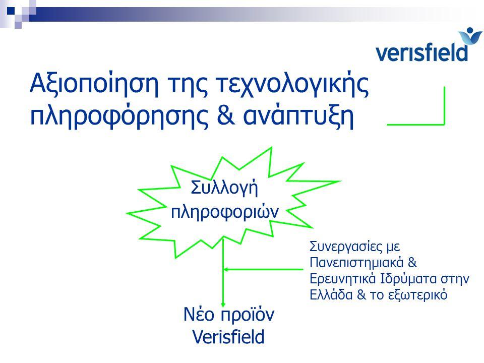 Αξιοποίηση της τεχνολογικής πληροφόρησης & ανάπτυξη Συλλογή πληροφοριών Νέο προϊόν Verisfield Συνεργασίες με Πανεπιστημιακά & Ερευνητικά Ιδρύματα στην