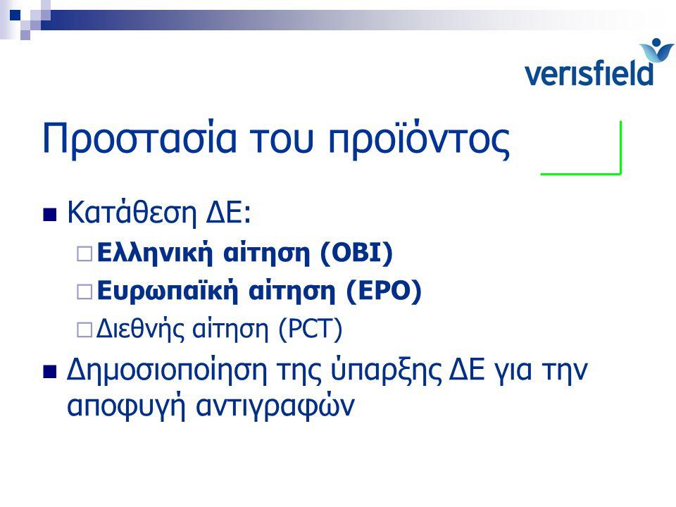 Προστασία του προϊόντος Κατάθεση ΔΕ:  Ελληνική αίτηση (ΟΒΙ)  Ευρωπαϊκή αίτηση (EPO)  Διεθνής αίτηση (PCT) Δημοσιοποίηση της ύπαρξης ΔΕ για την αποφ