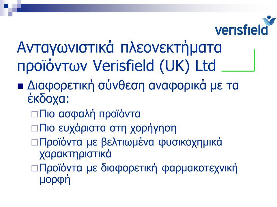 Ανταγωνιστικά πλεονεκτήματα προϊόντων Verisfield (UK) Ltd Διαφορετική σύνθεση αναφορικά με τα έκδοχα:  Πιο ασφαλή προϊόντα  Πιο ευχάριστα στη χορήγη