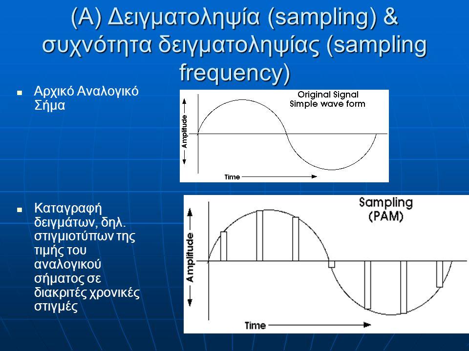 Δειγματοληψία Το σήμα μετασχηματίζεται σε μια σειρά δειγμάτων (samples) Συχνότητα δειγματοληψίας: Ρυθμός καταγραφής δειγμάτων Μετριέται σε Hz & πολλαπλάσια (kHz, MHz)