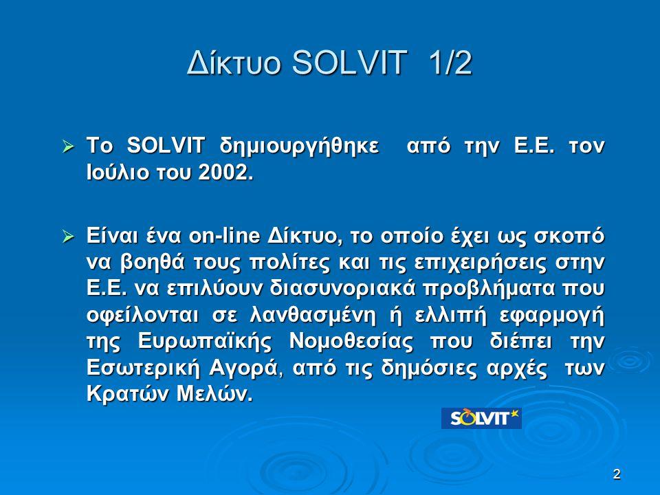 Δίκτυο SOLVIT 2/2 Το SOLVIT:  παρέχει τις υπηρεσίες του δωρεάν  προτείνει πραγματικές λύσεις σε 10 εβδομάδες  επιχειρεί να επιλύσει τα προβλήματα με φιλικές μόνο διαδικασίες  επιλύει το 85% - 90% περίπου των υποθέσεων.