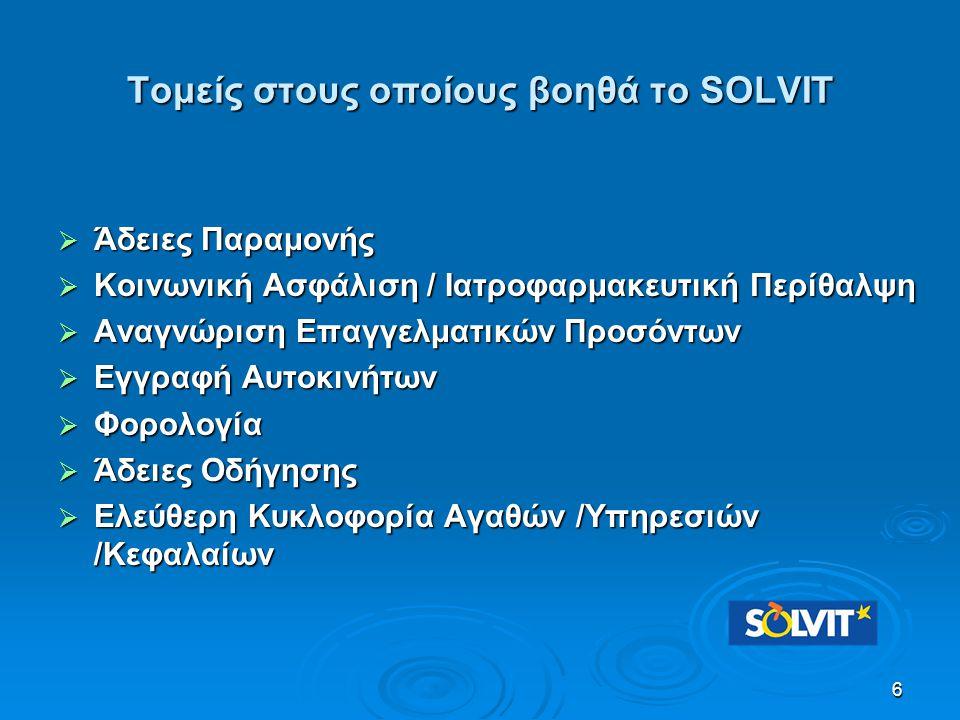 Τομείς στους οποίους βοηθά το SOLVIT  Άδειες Παραμονής  Κοινωνική Ασφάλιση / Ιατροφαρμακευτική Περίθαλψη  Αναγνώριση Επαγγελματικών Προσόντων  Εγγ