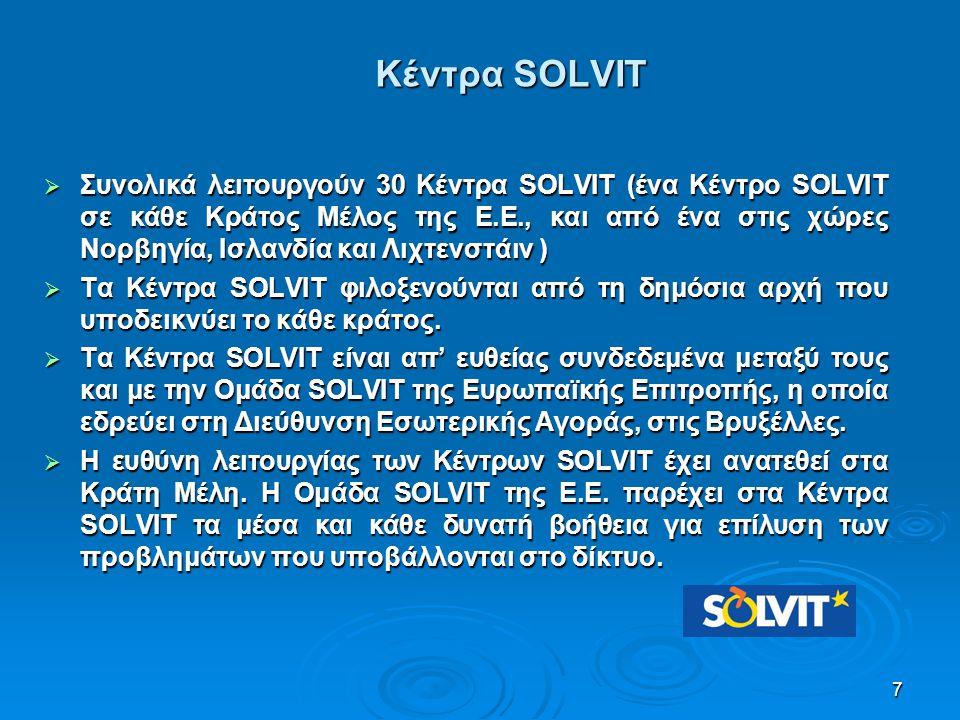 7 Κέντρα SOLVIT  Συνολικά λειτουργούν 30 Κέντρα SOLVIT (ένα Κέντρο SOLVIT σε κάθε Κράτος Μέλος της Ε.Ε., και από ένα στις χώρες Νορβηγία, Ισλανδία κα