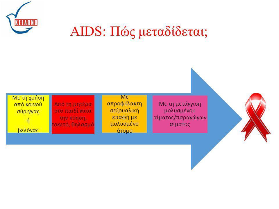 Με τη μετάγγιση μολυσμένου αίματος/παραγώγων αίματος Με απροφύλακτη σεξουαλική επαφή με μολυσμένο άτομο Από τη μητέρα στο παιδί κατά την κύηση, τοκετό