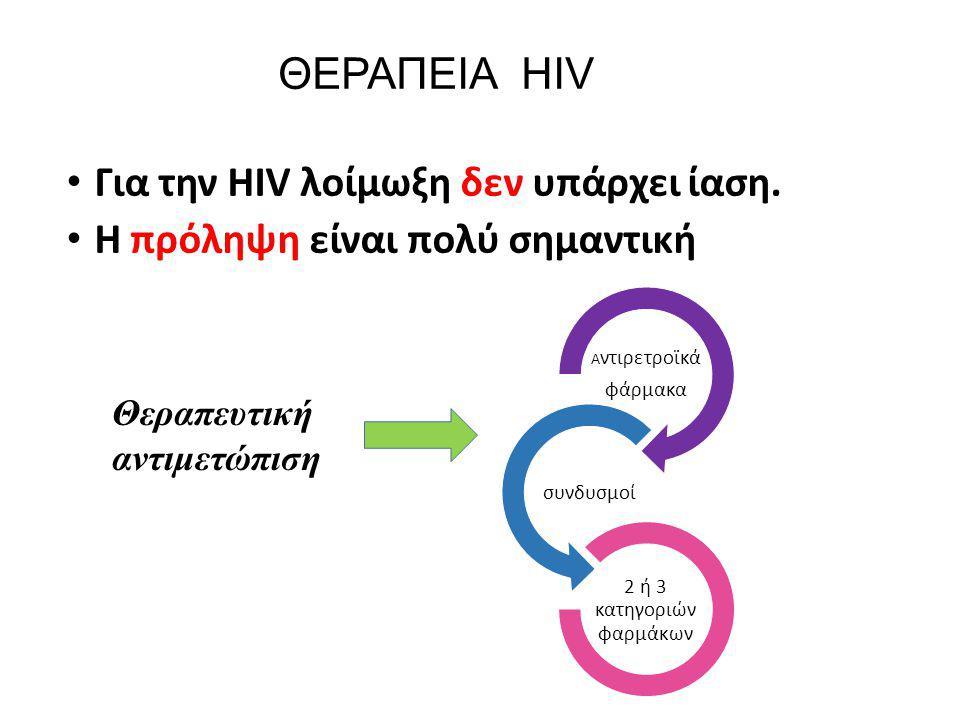 ΘΕΡΑΠΕΙΑ HIV Για την HIV λοίμωξη δεν υπάρχει ίαση. H πρόληψη είναι πολύ σημαντική A ντιρετροϊκά φάρμακα συνδυσμοί 2 ή 3 κατηγοριών φαρμάκων Θεραπευτικ