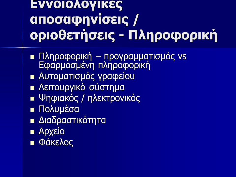 Εννοιολογικές αποσαφηνίσεις / οριοθετήσεις - Πληροφορική Πληροφορική – προγραμματισμός vs Εφαρμοσμένη πληροφορική Πληροφορική – προγραμματισμός vs Εφαρμοσμένη πληροφορική Αυτοματισμός γραφείου Αυτοματισμός γραφείου Λειτουργικό σύστημα Λειτουργικό σύστημα Ψηφιακός / ηλεκτρονικός Ψηφιακός / ηλεκτρονικός Πολυμέσα Πολυμέσα Διαδραστικότητα Διαδραστικότητα Αρχείο Αρχείο Φάκελος Φάκελος