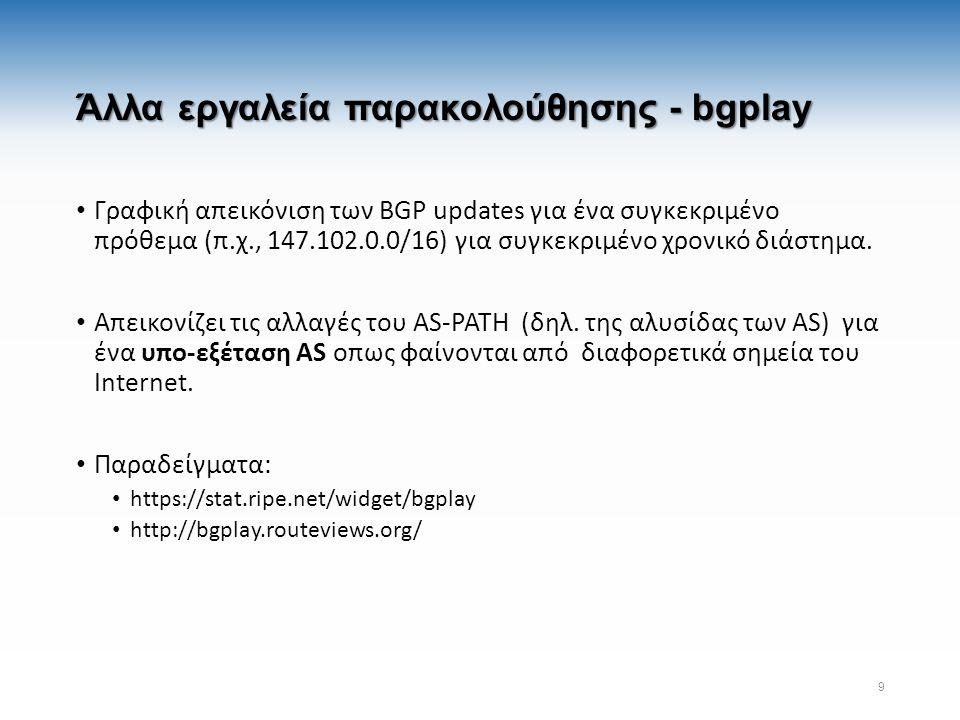 Άλλα εργαλεία παρακολούθησης - bgplay Γραφική απεικόνιση των BGP updates για ένα συγκεκριμένο πρόθεμα (π.χ., 147.102.0.0/16) για συγκεκριμένο χρονικό διάστημα.