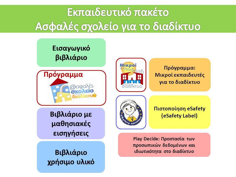 Εισαγωγικό βιβλιάριο Βιβλιάριο με μαθησιακές εισηγήσεις Βιβλιάριο χρήσιμο υλικό Play Decide: Προστασία των προσωπικών δεδομένων και ιδιωτικότητα στο δ