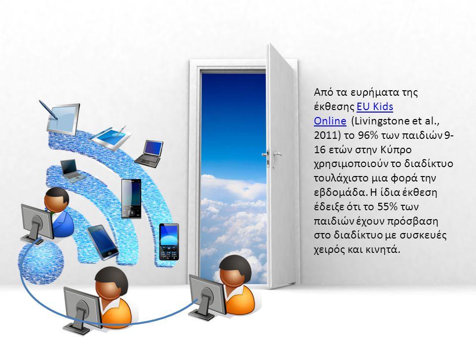 Από τα ευρήματα της έκθεσης EU Kids Online (Livingstone et al., 2011) το 96% των παιδιών 9- 16 ετών στην Κύπρο χρησιμοποιούν το διαδίκτυο τουλάχιστο μ