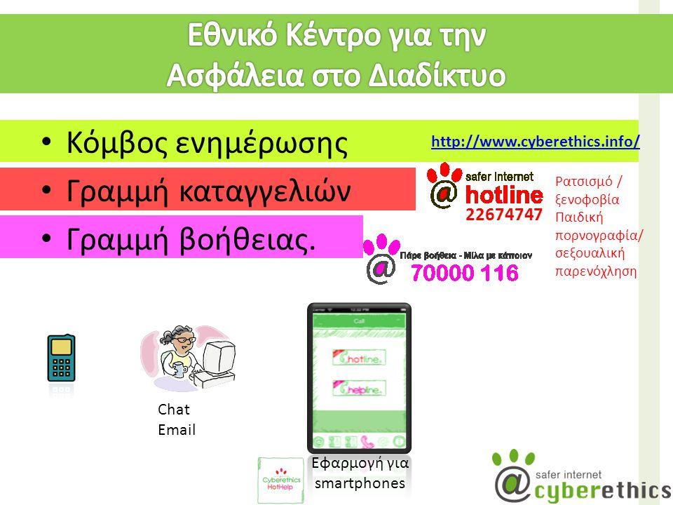 Κόμβος ενημέρωσης Γραμμή καταγγελιών Γραμμή βοήθειας. 22674747 Chat Email Εφαρμογή για smartphones http://www.cyberethics.info/ Ρατσισμό / ξενοφοβία Π