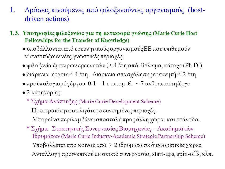 1.Δράσεις κινούμενες από φιλοξενούντες οργανισμούς (host- driven actions) 1.3.