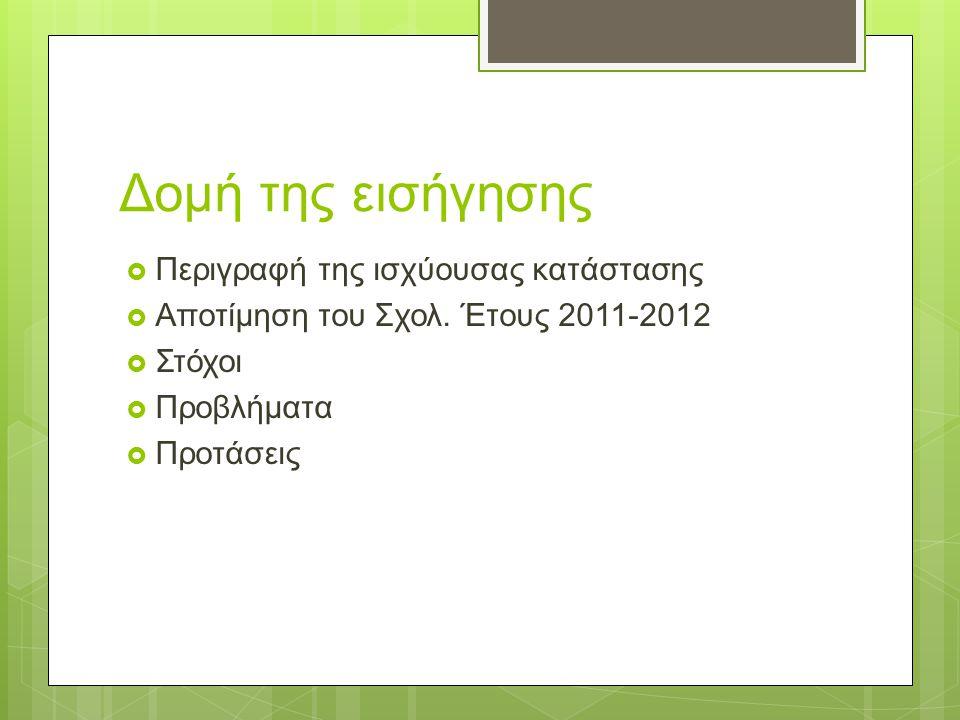Δομή της εισήγησης  Περιγραφή της ισχύουσας κατάστασης  Αποτίμηση του Σχολ. Έτους 2011-2012  Στόχοι  Προβλήματα  Προτάσεις
