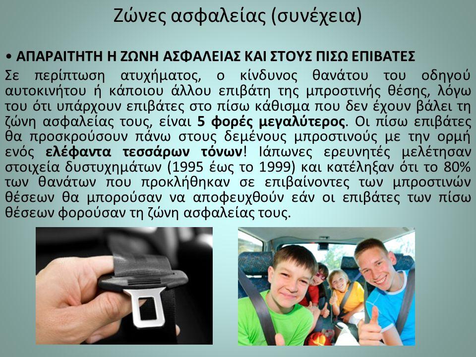 Ζώνες ασφαλείας (συνέχεια) ΑΠΑΡΑΙΤΗΤΗ Η ΖΩΝΗ ΑΣΦΑΛΕΙΑΣ ΚΑΙ ΣΤΟΥΣ ΠΙΣΩ ΕΠΙΒΑΤΕΣ Σε περίπτωση ατυχήματος, ο κίνδυνος θανάτου του οδηγού αυτοκινήτου ή κάποιου άλλου επιβάτη της μπροστινής θέσης, λόγω του ότι υπάρχουν επιβάτες στο πίσω κάθισμα που δεν έχουν βάλει τη ζώνη ασφαλείας τους, είναι 5 φορές μεγαλύτερος.